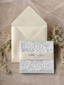 wedding photo - Custom Listing (20) Light Grey And Ecru Wedding Invitation, Lace Wedding Invitations , Vintage Grey Wedding Invitation 4lovepolkadotslkadots