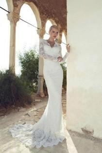 wedding photo - Elegant Long Train Lace Wedding Dress Bridal Gown Custom Size 6 8 10 12 14 16