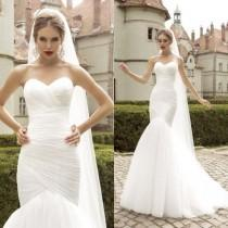 wedding photo - White/Ivory Mermaid Wedding Dress Bridal Gown Custom Size 4 6 8 10 12 14 16 18