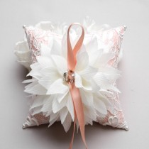 wedding photo - Ring Pillow - Wedding ring pillow, Flower ring pillow, bridal ring bearer pillow - Lydia - New