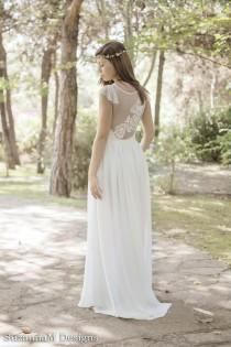 wedding photo - Ivory Bohemian Wedding Dress Beautiful Lace Wedding Long Gown Boho Gown Bridal Gypsy Wedding Dress - Handmade by SuzannaM Designs - New