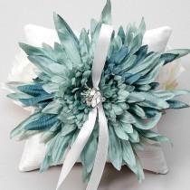 wedding photo - Ring pillow - wedding ring bearer pillow, something blue - Evelyn - New