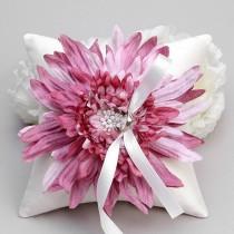 wedding photo - Ring pillow - wedding ring bearer pillow, flower ring pillow, pink ring pillow - Evelyn - New