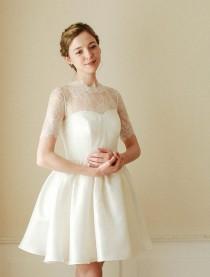 wedding photo - Wedding bolero, bridal lace top, wedding top, lace topper, bridal cover up, wedding jacket, shurug - style 703 - New