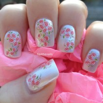 wedding photo - Nail WRAPS Nail Art Water Transfers Decals -  Peach Tiny Rose Buds Nails YD076 - New