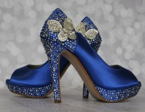 wedding photo - Wedding Shoes -- Royal Blue Peep Toe Wedding Shoes with Silver and Blue Rhinestones  and Silver Rhinestone Butterflies on the Ankle - New