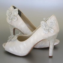 wedding photo - Wedding Shoes -- Ivory Peeptoes with Lace Overlay, Rhinestone Heel and Platform and Rhinestone Butterflies - New