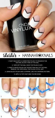 wedding photo - Mani Monday: Black And White Chevron Nail Tutorial