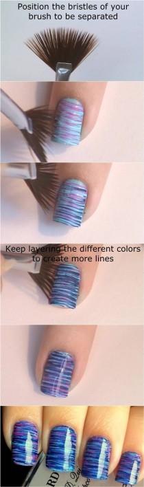 wedding photo - How To DIY Blue And Pink Fan Brush Striped Nail Art