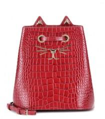 wedding photo - Feline Embossed Leather Bucket Bag