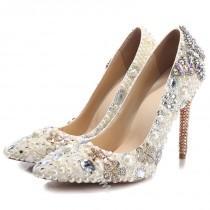 wedding photo - Shoespie Beige Rhinestone Ultra-High Heel Bridal Shoes
