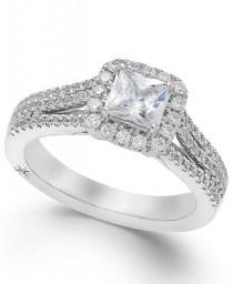 wedding photo - Marchesa Celeste Halo by Marchesa Certified Diamond Split Shank Engagement Ring (1-1/5 ct. t.w.) in 18k White Gold