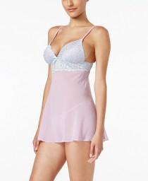 b3d601d6625 Linea Donatella Linea Donatella Bellina Solid Molded Cup Babydoll with G- String