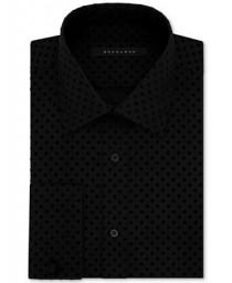 wedding photo - Sean John Sean John Men's Fitted Tailored-Cut Textured Black Dot French Cuff Dress Shirt