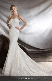 wedding photo - Pronovias Orilla Strapless Lace Tulle Mermaid Gown (In Stores Only)