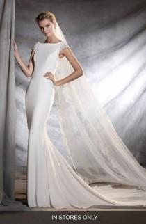 wedding photo - Pronovias Olbia Cap Sleeve Lace Back Crepe Mermaid Gown (In Stores Only)