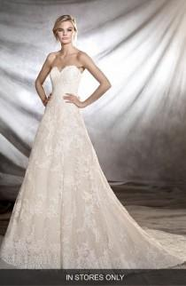 wedding photo - Pronovias Onia Strapless Lace Gown (In Stores Only)