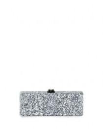 wedding photo - Flavia Confetti Acrylic Clutch Bag, Silver