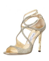wedding photo - Lang Glittered Strappy Sandal, Light Bronze