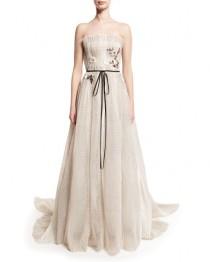 wedding photo - Seersucker Organza Strapless Gown, Silk White