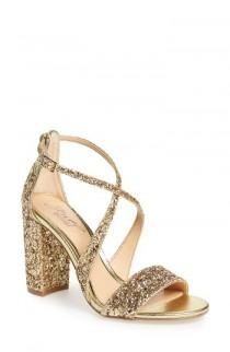 wedding photo - Badgley Mischka Cook Block Heel Glitter Sandal