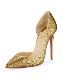 wedding photo - Christian Louboutin Galu Half-d'Orsay 100mm Red Sole Pump, Gold