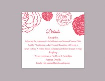 wedding photo - DIY Wedding Details Card Template Editable Word File Download Printable Details Card Fuchsia Details Card Floral Rose Information Cards