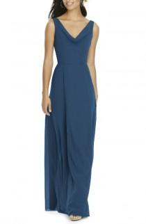 wedding photo - Social Bridesmaids Cowl Neck Chiffon Gown