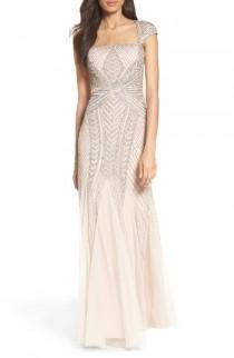 wedding photo - Adrianna Papell Envelope Embellished Mesh Gown (Regular & Petite)
