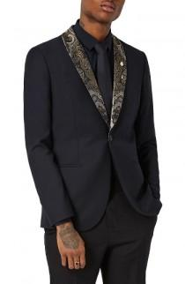 wedding photo - Topman Skinny Fit Tuxedo Jacket with Paisley Shawl Lapel