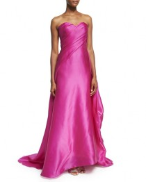 wedding photo - Draped Strapless Satin Gown, Fuchsia