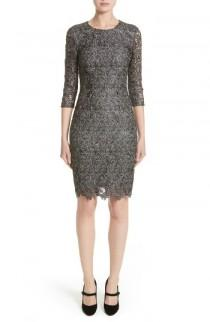 wedding photo - St. John Collection Plume Embroidered Lace Dress