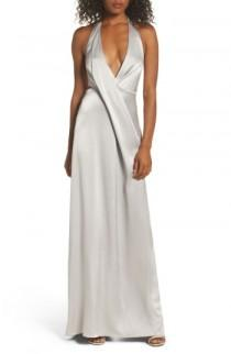 wedding photo - Halston Heritage V-Neck Draped Satin Gown