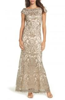 wedding photo - Tadashi Shoji Off the Shoulder Corded Tulle Gown (Regular & Petite)