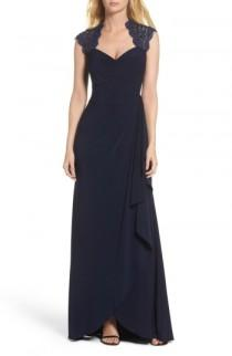 wedding photo - Xscape Side Drape Metallic Lace & Jersey Gown