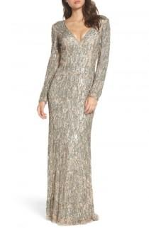 wedding photo - Mac Duggal Beaded Long Sleeve Gown