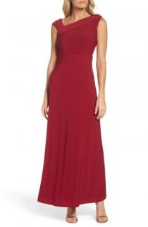 wedding photo - Ellen Tracy Asymmetrical Neck Jersey Gown