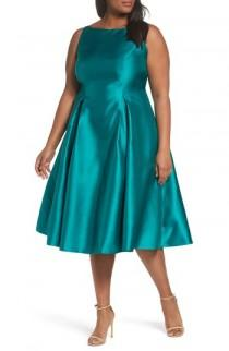 wedding photo - Adrianna Papell Sleeveless Mikado Fit & Flare Midi Dress (Plus Size)