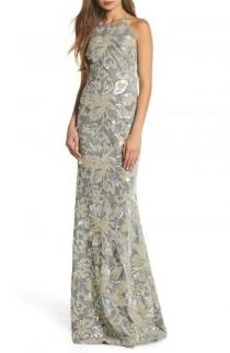 wedding photo - Badgley Mischka Sequin Embroidered Velvet Halter Gown