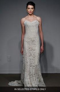 wedding photo - Anna Maier Couture Lyon Strapless Lace Column Gown (Regular & Plus Size)