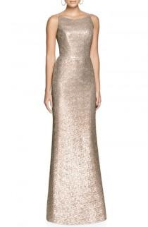 wedding photo - Dessy Collection Bateau Neck Sequin Gown