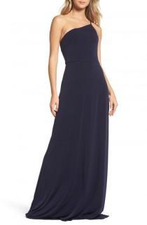 wedding photo - Amsale Jersey One-Shoulder Gown