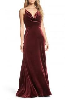 wedding photo - Jenny Yoo Sullivan Velvet Cowl Neck Gown