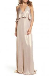 wedding photo - nouvelle AMSALE Crushed Satin Popover Halter Gown