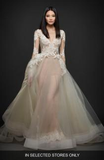wedding photo - Lazaro Long Sleeve Lace & Organza Ballgown