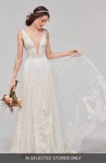 wedding photo - Willowby Philomena Deep V-Neck Tulle Gown