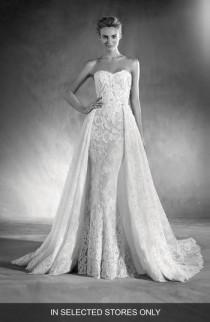 wedding photo - Atelier Pronovias Edith Strapless Lace Gown with Overskirt