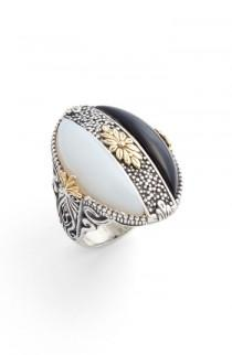 wedding photo - Konstantino Etched Silver Agate Ring
