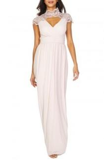 wedding photo - TFNC Sanna Lace Trim Chiffon Gown