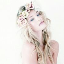 wedding photo -  Loose Curly Hairstyle with Flower Crown  Simple and Natural Wedding Hairstyle